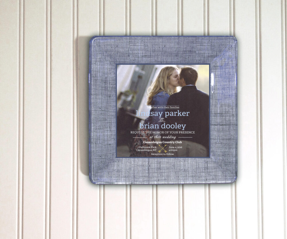 Wedding Invitation Plate Using Photo - Unique Gift For Couples Decoupage