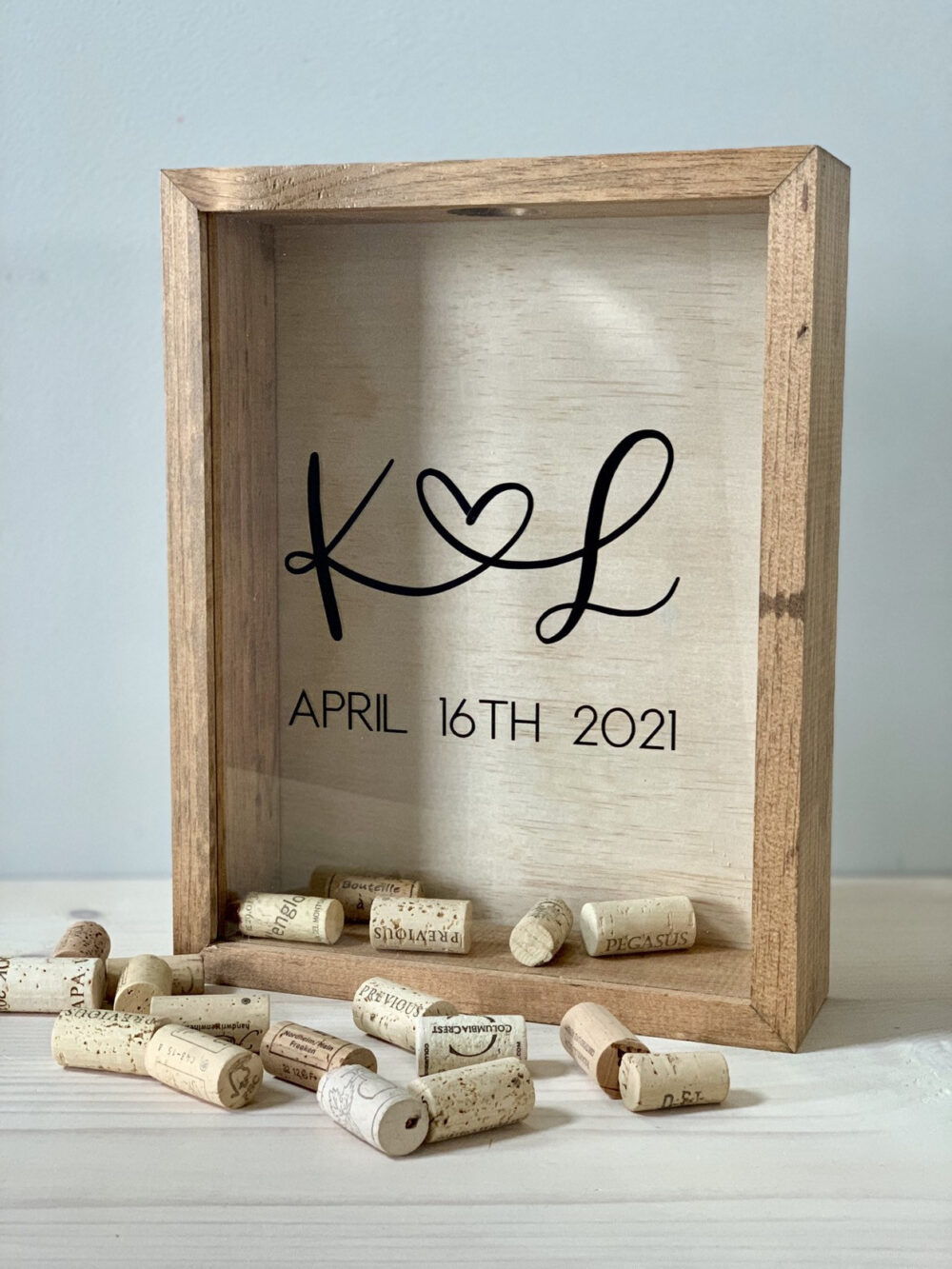 Wine Cork Holder | Bridal Shower Gift Wood Guest Book Shadow Box For Corks, Photos, Messages, Flowers & More 10x12 Inches