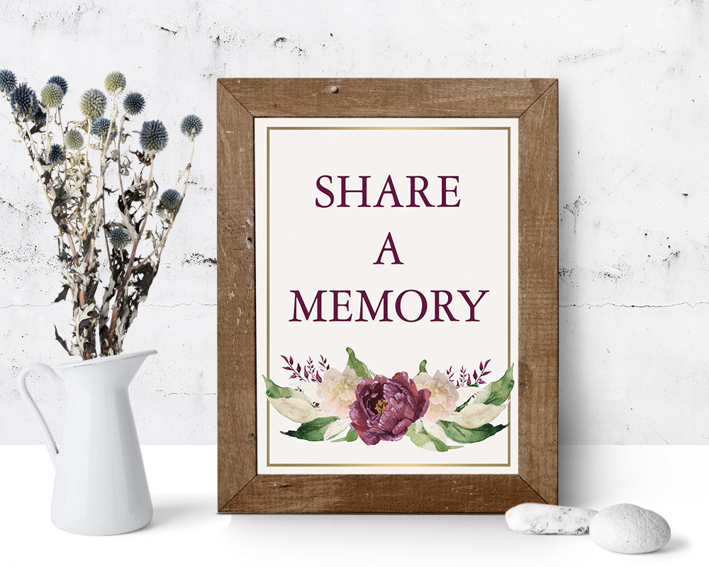 Share A Memory Sign Funeral Decor Remembrance 8 X 10 Poster Purple Foliage Memorial Printed Or Diy Home Print