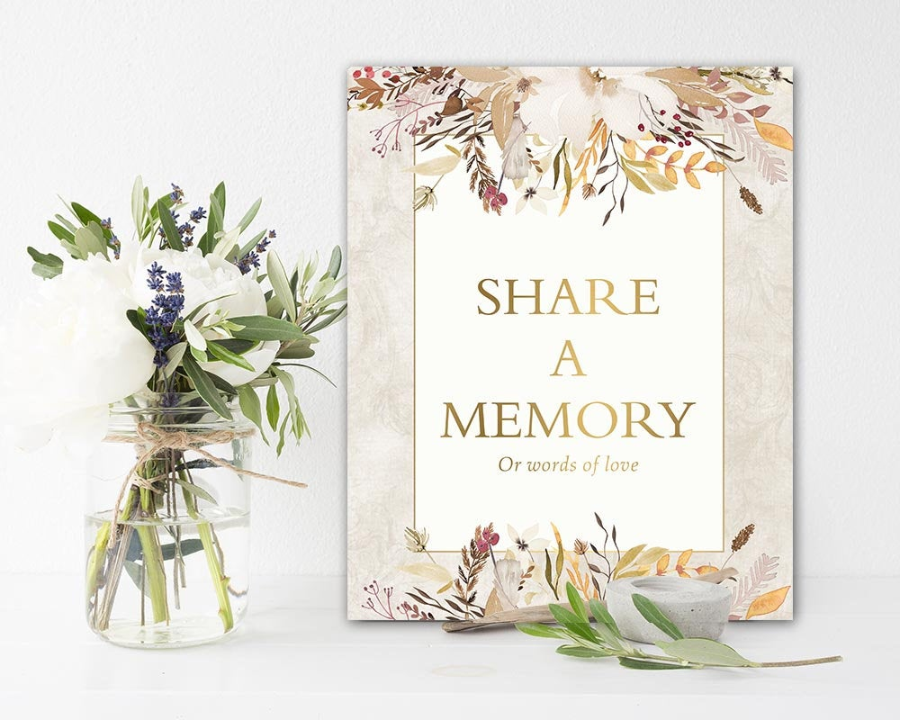 Funeral Share A Memory Sign Printable Celebration Of Life Memorial Wheat Floral 8 X 10