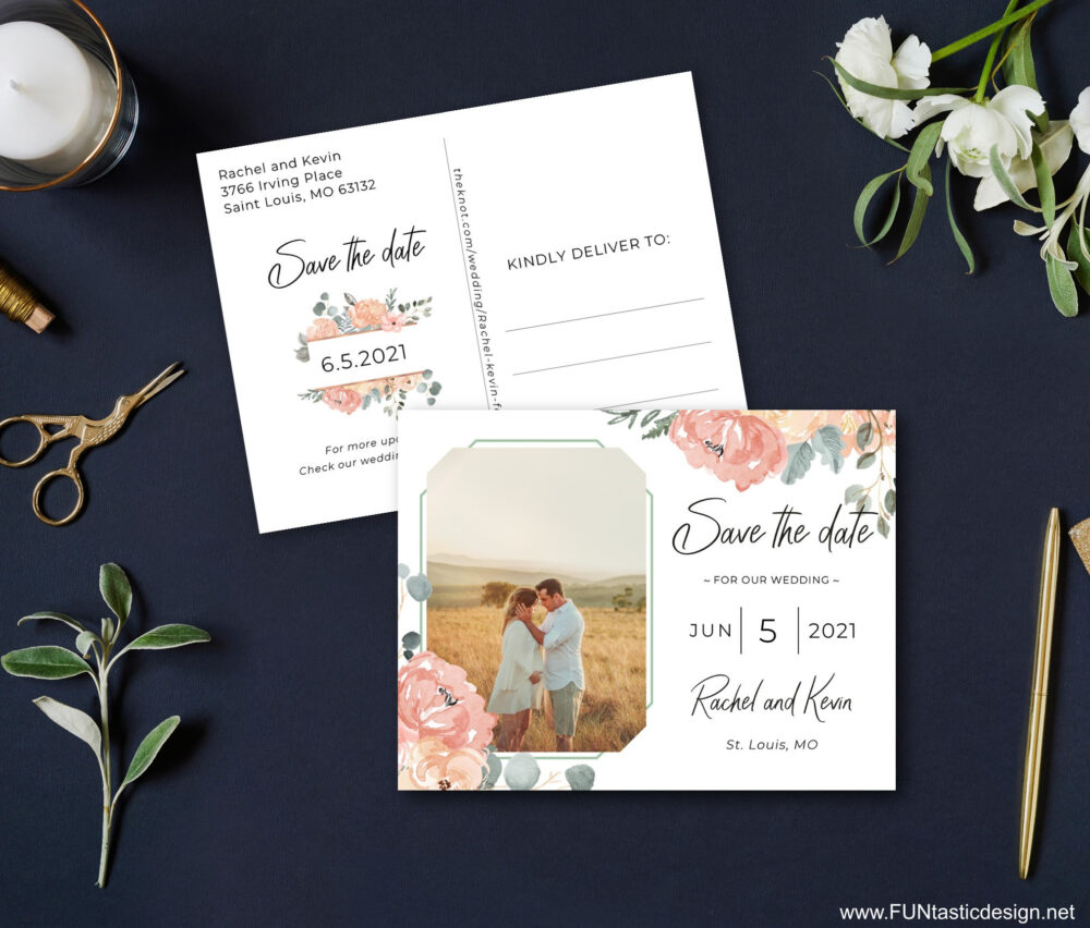 Sage Green & Dusty Rose Save The Date Postcards Printed Cards With Envelopes Photo Save Date Wedding Pink