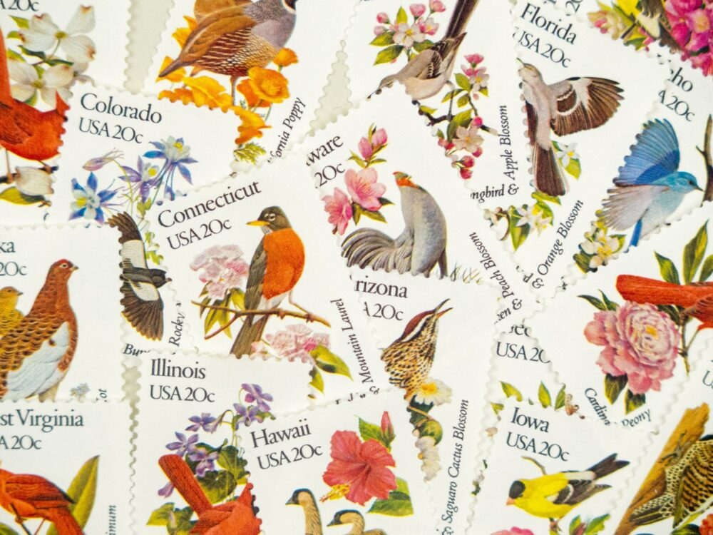 State Bird & Flower Stamps, Vintage Wedding, Wedding Postage, Stamps With Flowers