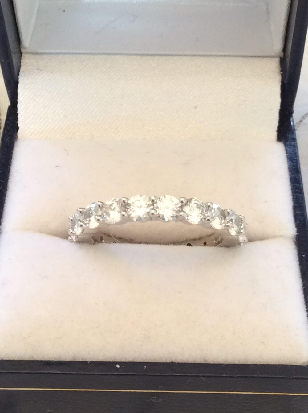 Authentic Vintage Full Gemstone Band Ring Sterling Silver, 925, Wedding, Bride, Promise, Birthday, Free Postage