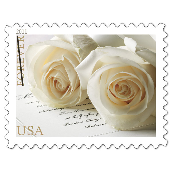 10 White Rose Wedding Postage Stamps Unused For Mailing Invitations // Save The Dates Cards