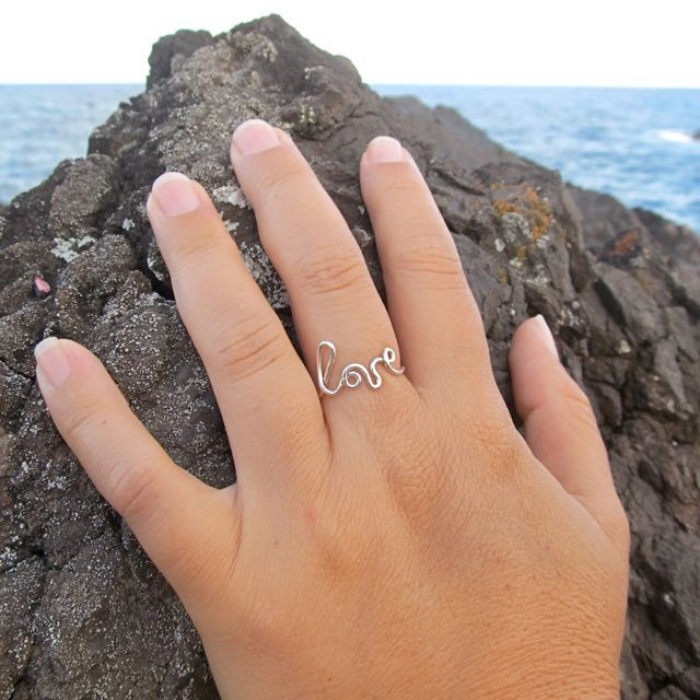 Love Ring, Sterling Silver Anniversary Gift Idea, Birthday, Sweetheart, Handmade Maui Hawaii, Little Girls Rings, Bridesmaid Idea