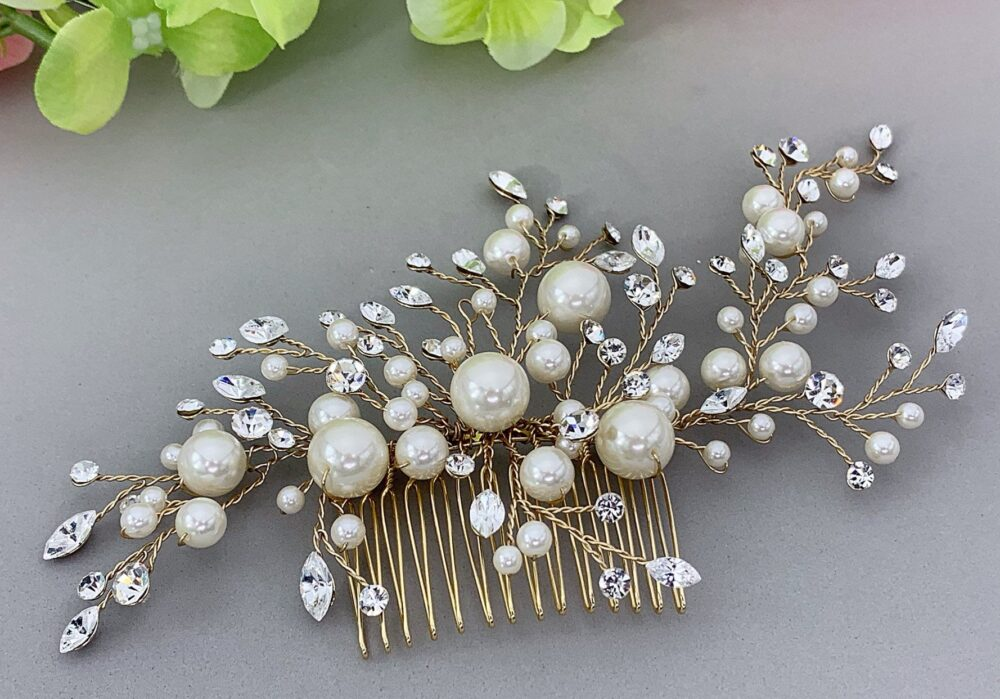 Bridal Hair Comb Gold Plated Ivory Pearls Wedding Hair Comb, Wedding Accesories, Pearl Comb, Comb, Bridal Head Piece