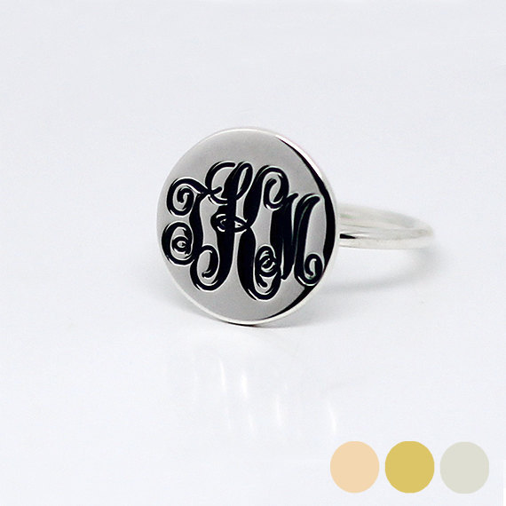 Monogram Ring, Personalized Sterling Silver Initial Ring , Engraved Name Solid 925