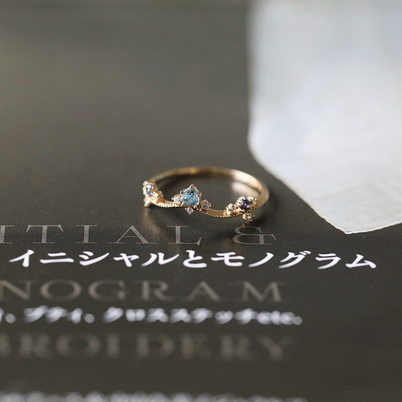 14K Solid Gold Natural Swiss Blue Topaz Ring, Curved Trillion Gem Cut, Sky Ice Engagement Ring
