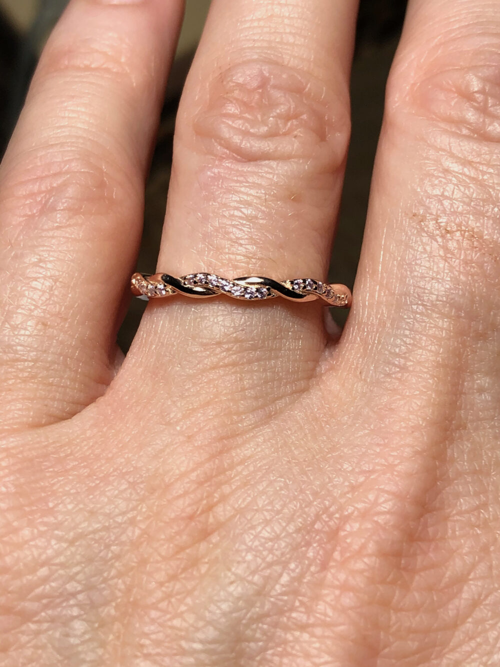 A 14K Rose Gold Natural Pink Sapphire Twist Wedding Band Ring