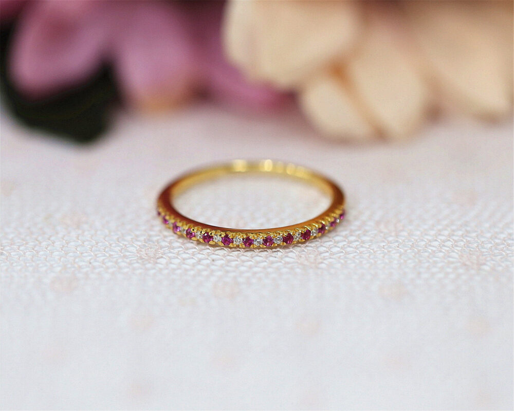 Ruby Wedding Band Yellow Gold Plate Half Eternity Handmade Sterling Silver Ring Anniversary Matching