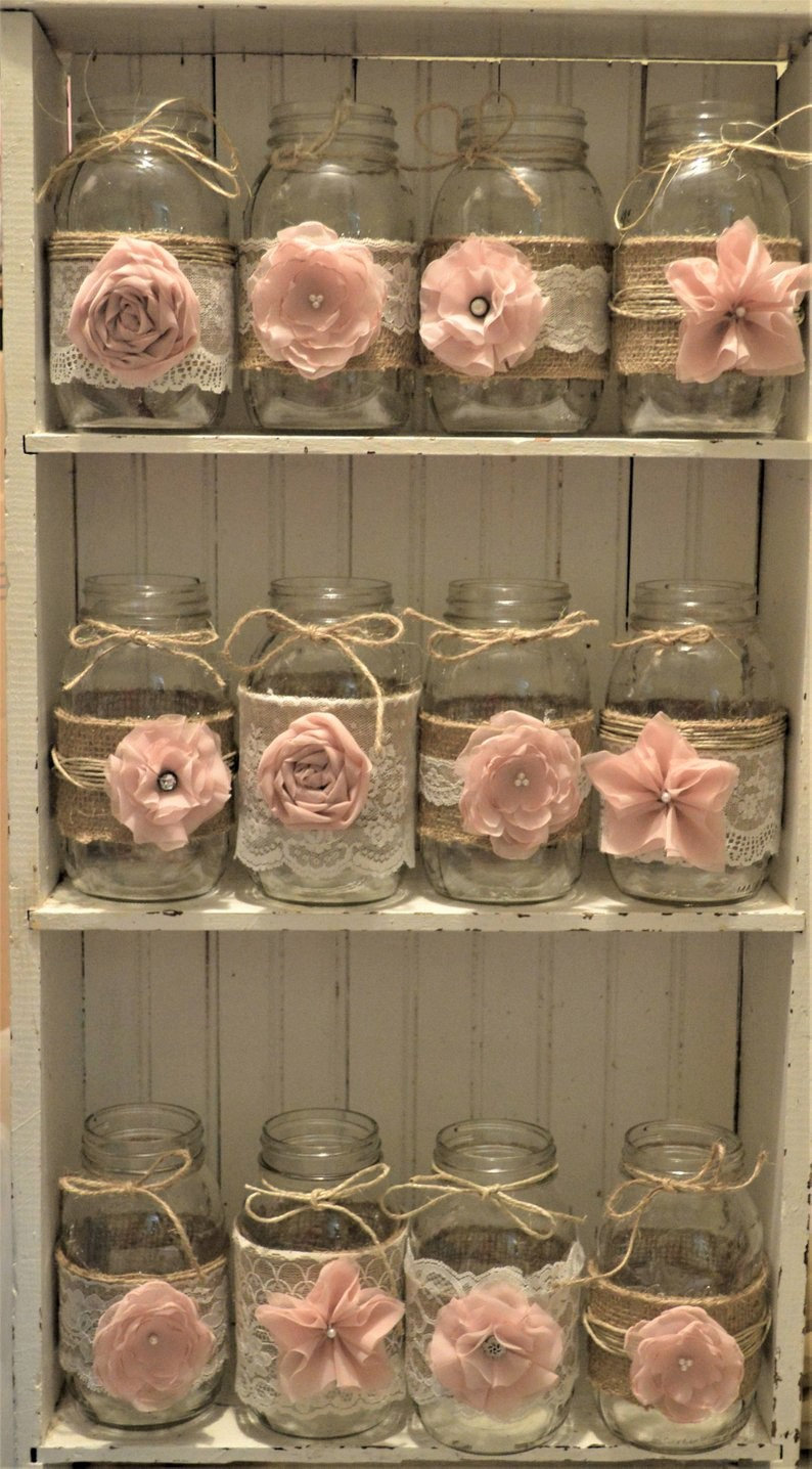 Baby Girl, Shower Decorations, Wedding Centerpieces, Burlap Mason Jars, Jar Not Included, It's A Bridal Decorations