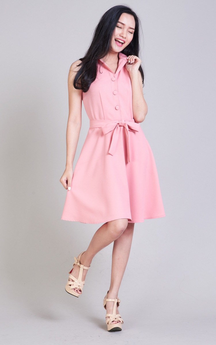Pink Summer Dress Blush Party Shirt Fit & Flare Working Day To Night Wedding Bridesmaid Dress-Downtown