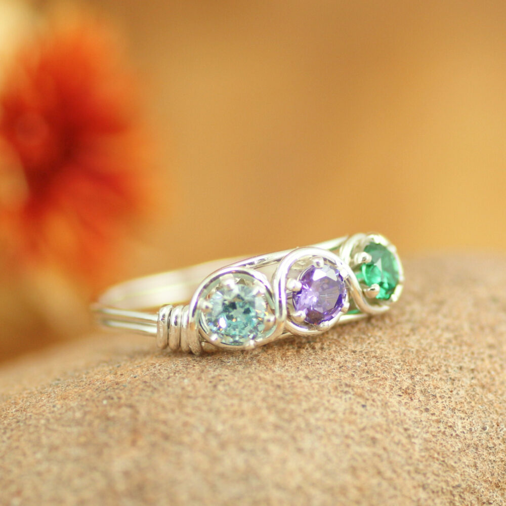 Grandma's Ring 3 Stones ~ Handmade Birthstone Silver Mother's ~Personalized Jewelry ~Gift For Mom ~Mother's Day Gift