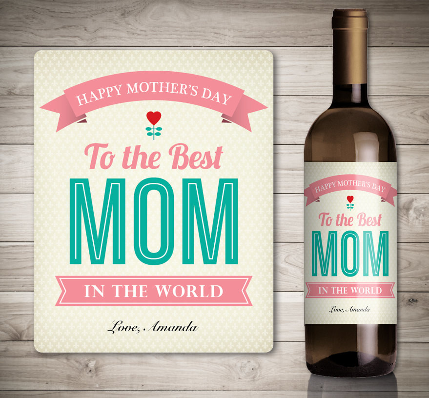 Custom Mother's Day Wine Label - Personalized Happy Gift