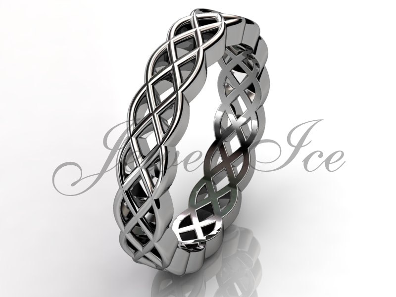 Celtic Knot Wedding Band - 14K White Gold Unusual Unique lb-2026-1