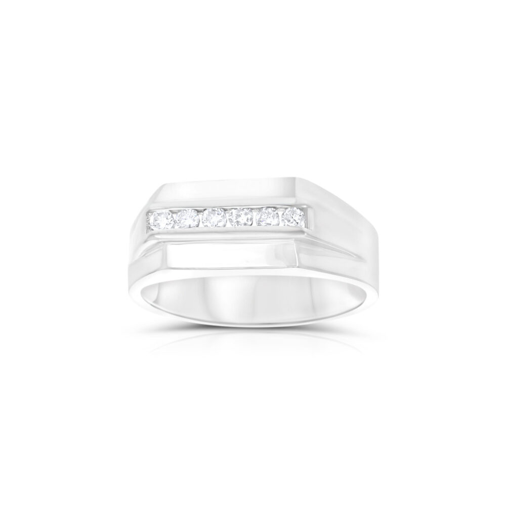 Modern Mens Diamond Wedding Band - 14K Solid White Gold .23Cttw Gift For Him, Husband, Fiance, Wedding Anniversary Band, Pinky Ring