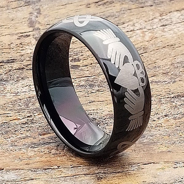 Celtic Claddagh Ring, Mens Promise Wedding Band, Knot Heart Black Tungsten Band