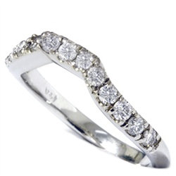 Diamond Curved Wedding Ring .40Ct Anniversary Guard Band 14K White Gold Size   4-9
