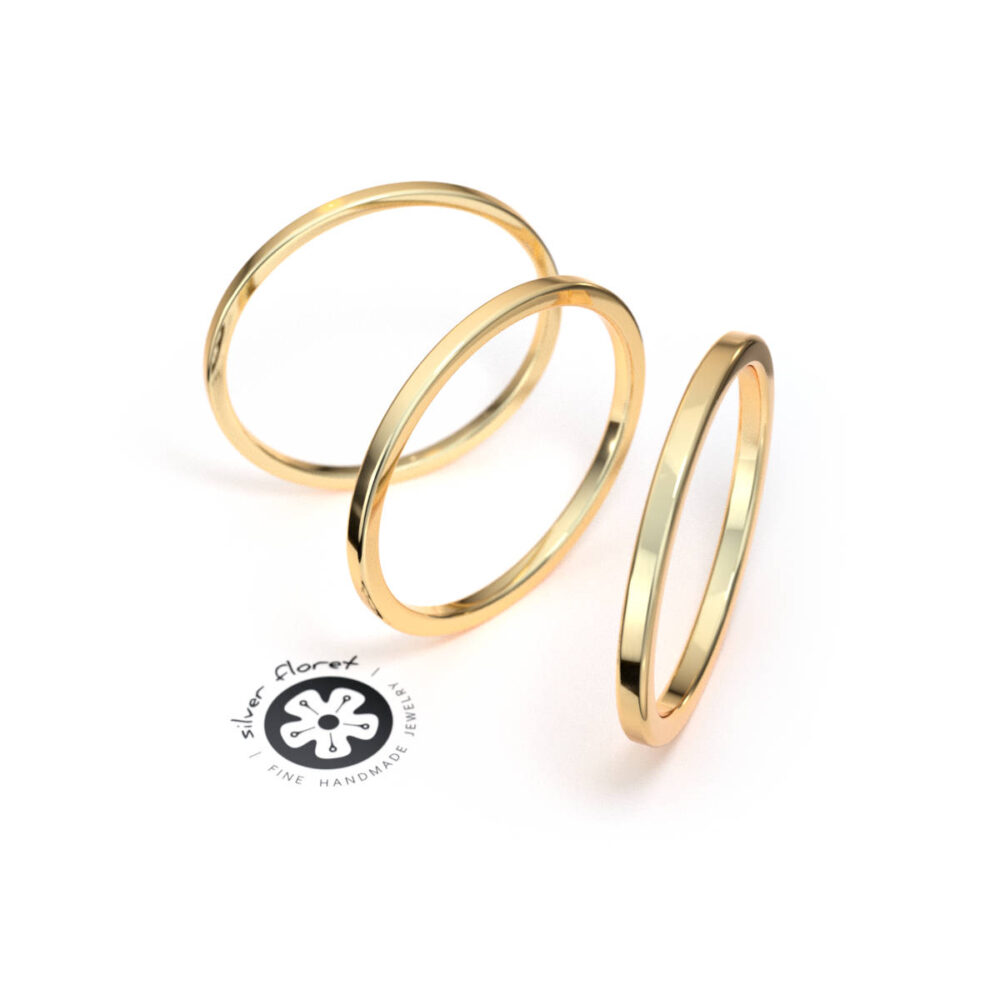 Thin 14K Yellow Gold Band, Solid Gold, Square Tiny Plain Midi Knuckle Flat Ring Spacer, Divider, Guard