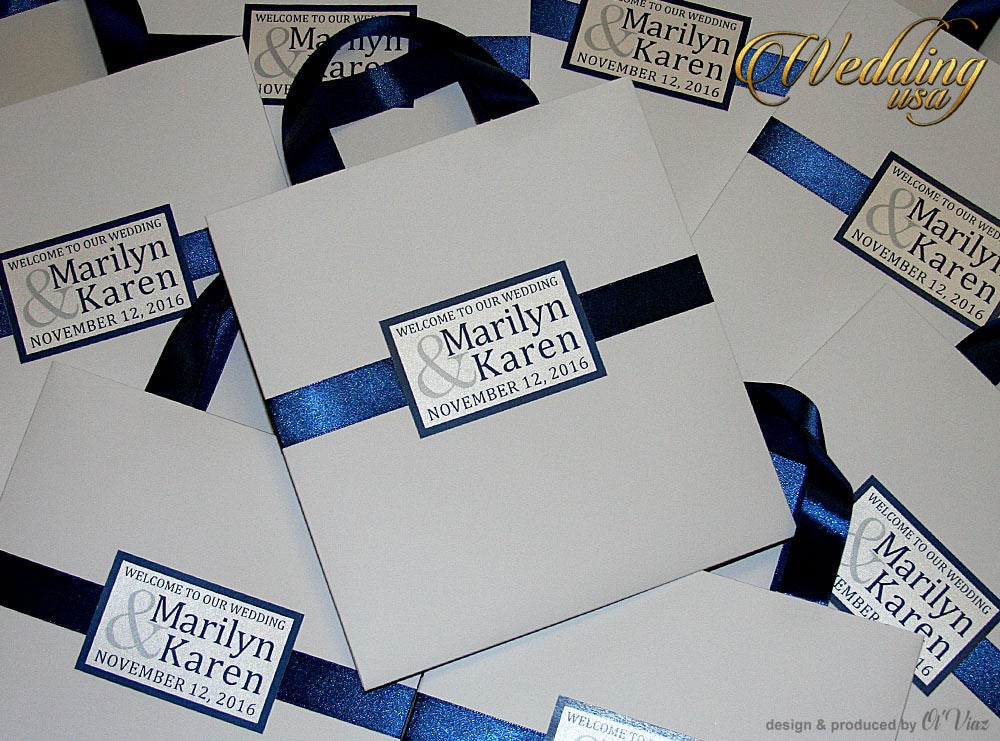 Blue Wedding Welcome Bags For Guests With Ribbon, Names, Elegant Wedding Favor Bags, Navy Welcome Bags Guests