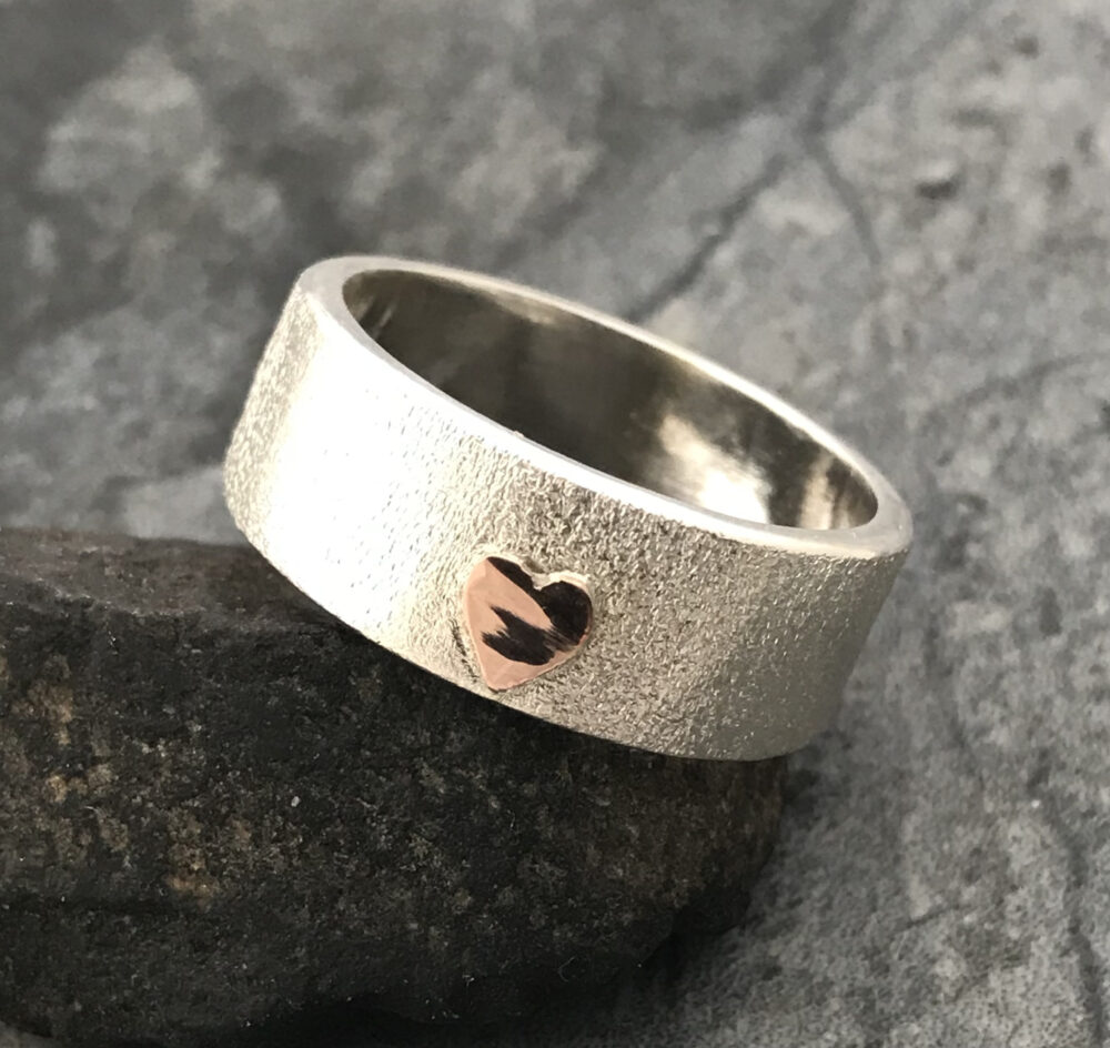 sterling Silver Band With Yellow Or Rose Gold Heart - Custom Made