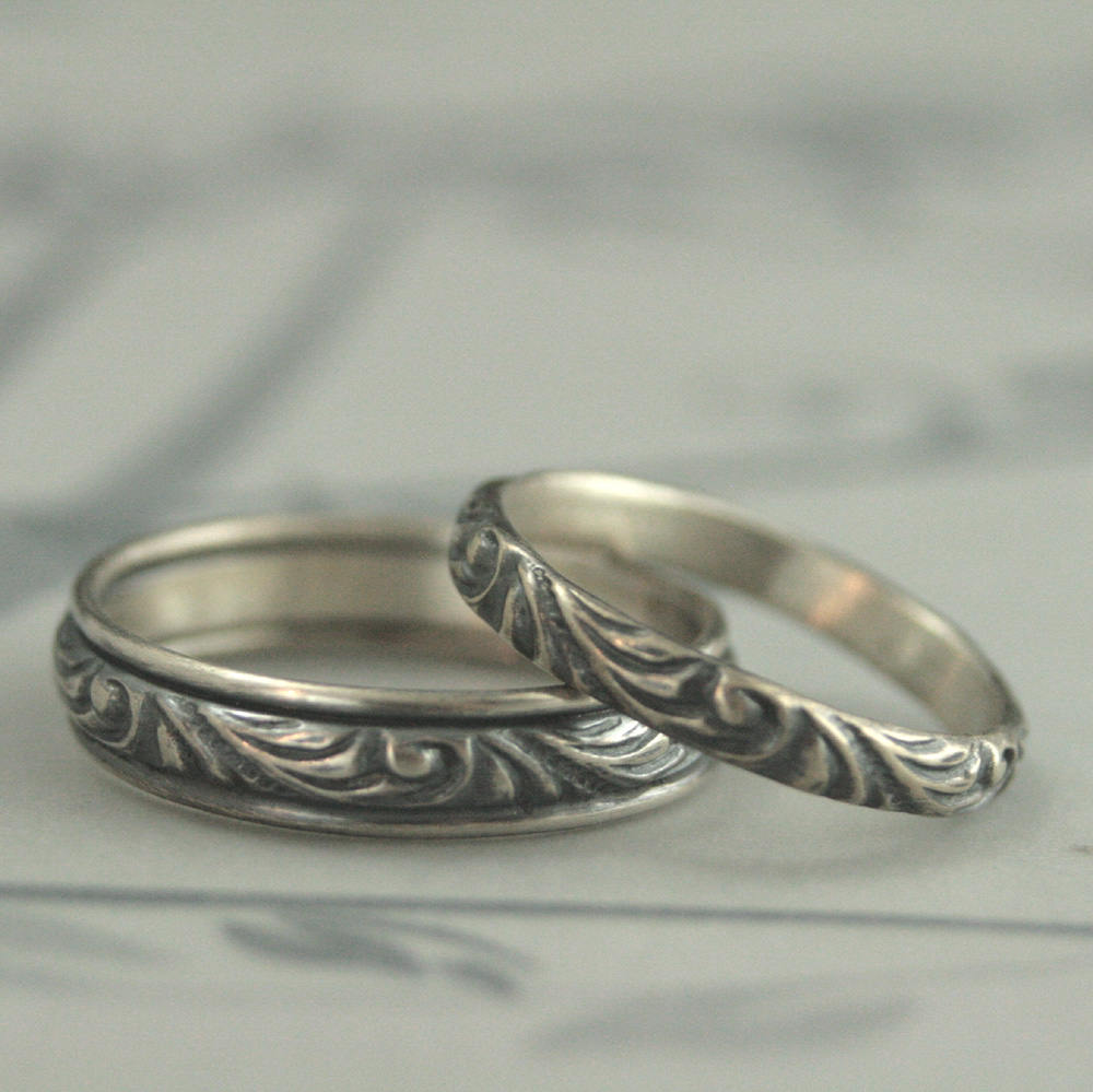 Silver Wedding Set Band Ring Rings Bands His & Hers