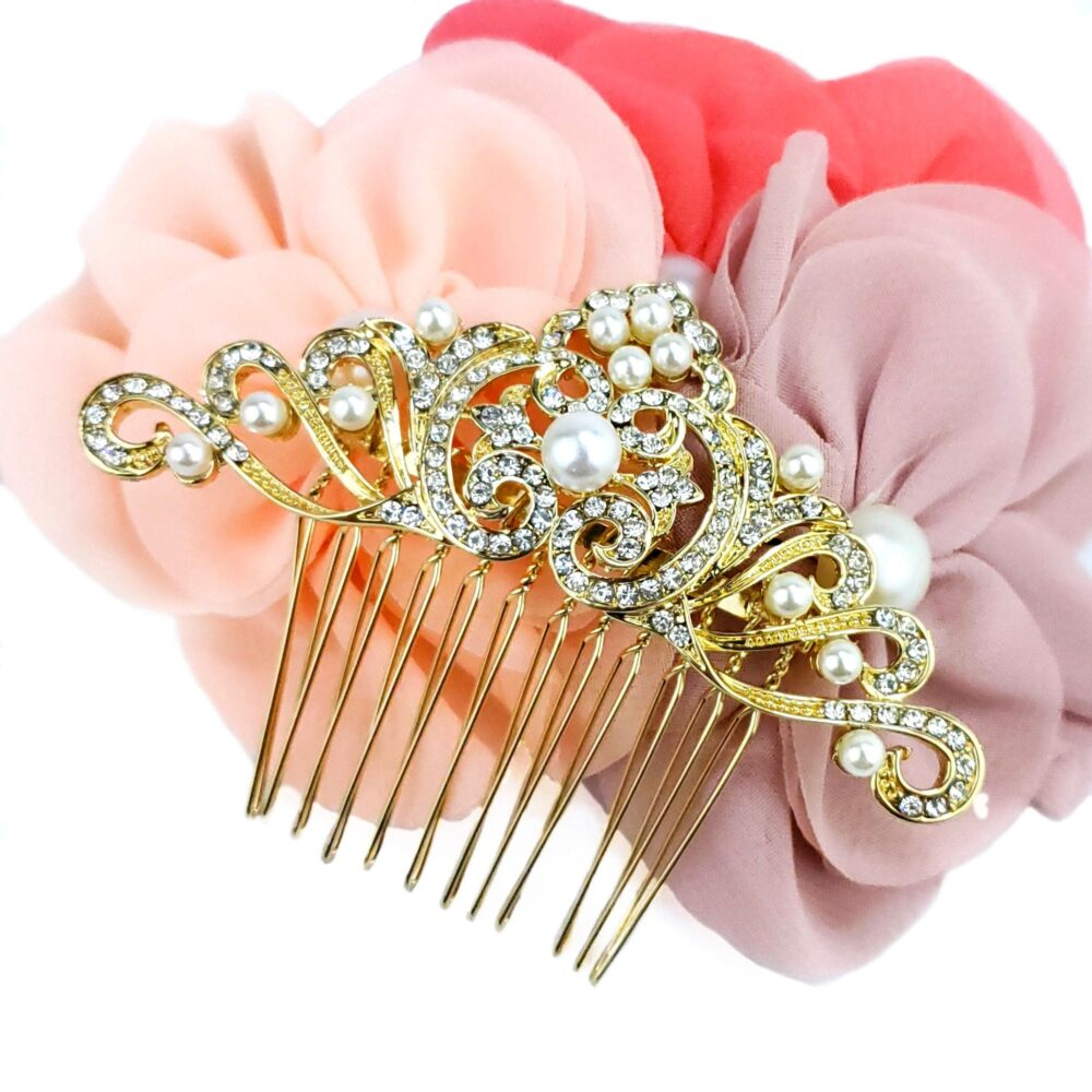 Gold Bridal Comb, Wedding Hair Comb For Brides, Accessory, Crystal Pearl Piece, Back Cz Jewelry