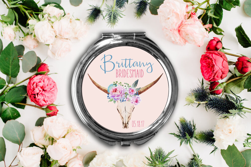 Floral Deer Personalized Compact Mirror -Personalized Mirror, Bridesmaid Bridal Party Makeup