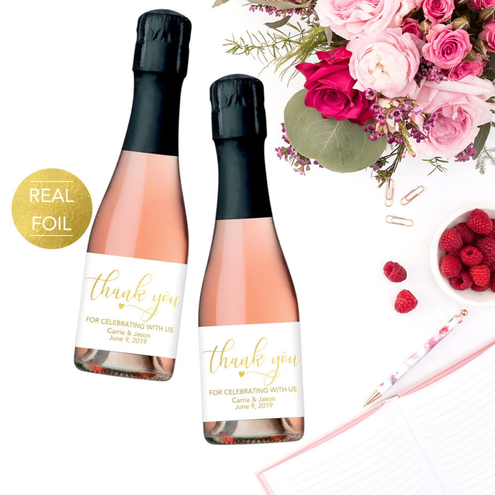 Wedding Champagne Labels, Favor Wine Favors, Thank You Label