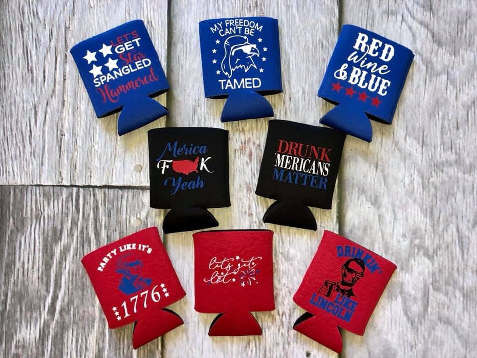 Patriotic Can Cooler, Personalized Bride Tribe Gift Bag, Bridesmaid Swag Top Rated Items, Personalized, Custom 4Th Of July