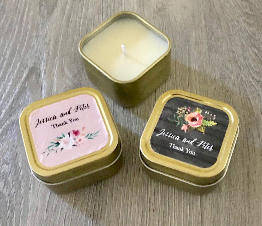 48 Gold Travel Tin Candles, Bridal Shower Party, Wedding Favors, Candle, Personalized