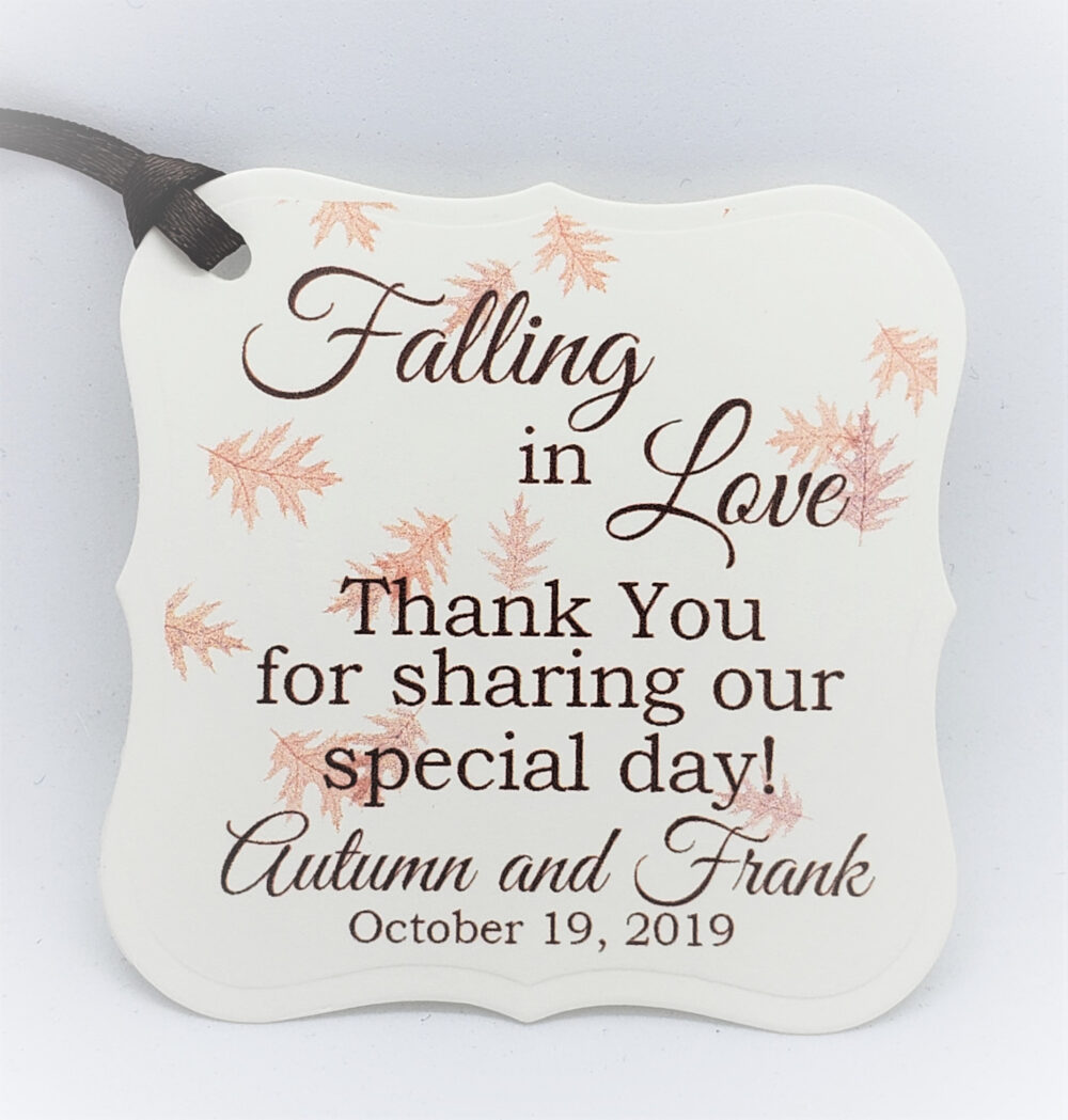 Falling in Love Wedding Favor Tag, Fall Favor, Decor, Engagement Party Candy Bag Autumn