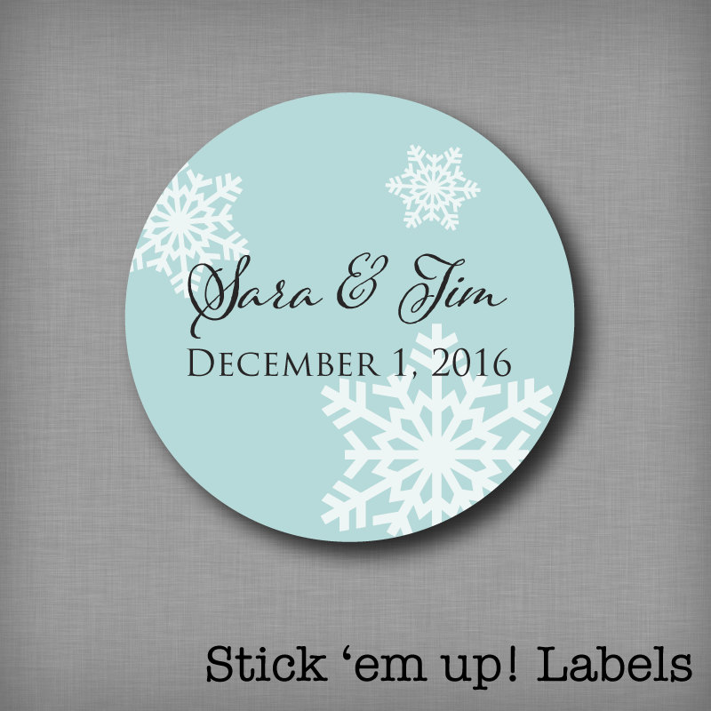 Winter Wedding Favor Sticker Snowflake Labels Personalized Round Stickers