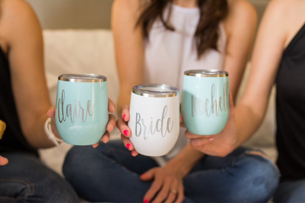 Bridesmaid Wine Tumblers - Bridal Party Gift Ideas Tumbler Personalized Bride Wedding For