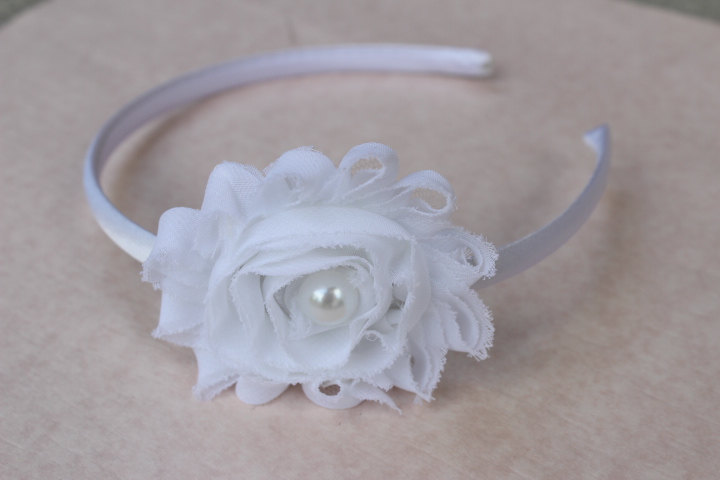 White Flower Girl Headband, Plastic Toddler Hard Satin Girls White Headbands, Vintage Headband Wedding