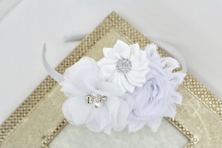 Flower Girl Headband, White Headbands, Wedding Satin Girls Flower Toddler Headband