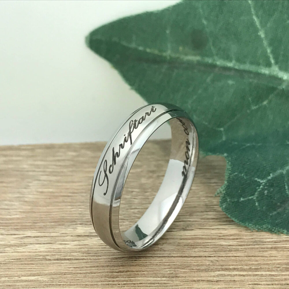 6mm Wedding Ring, Personalize Custom Engrave Stainless Steel Ring Band, Name Father's Day Gift Ssr623