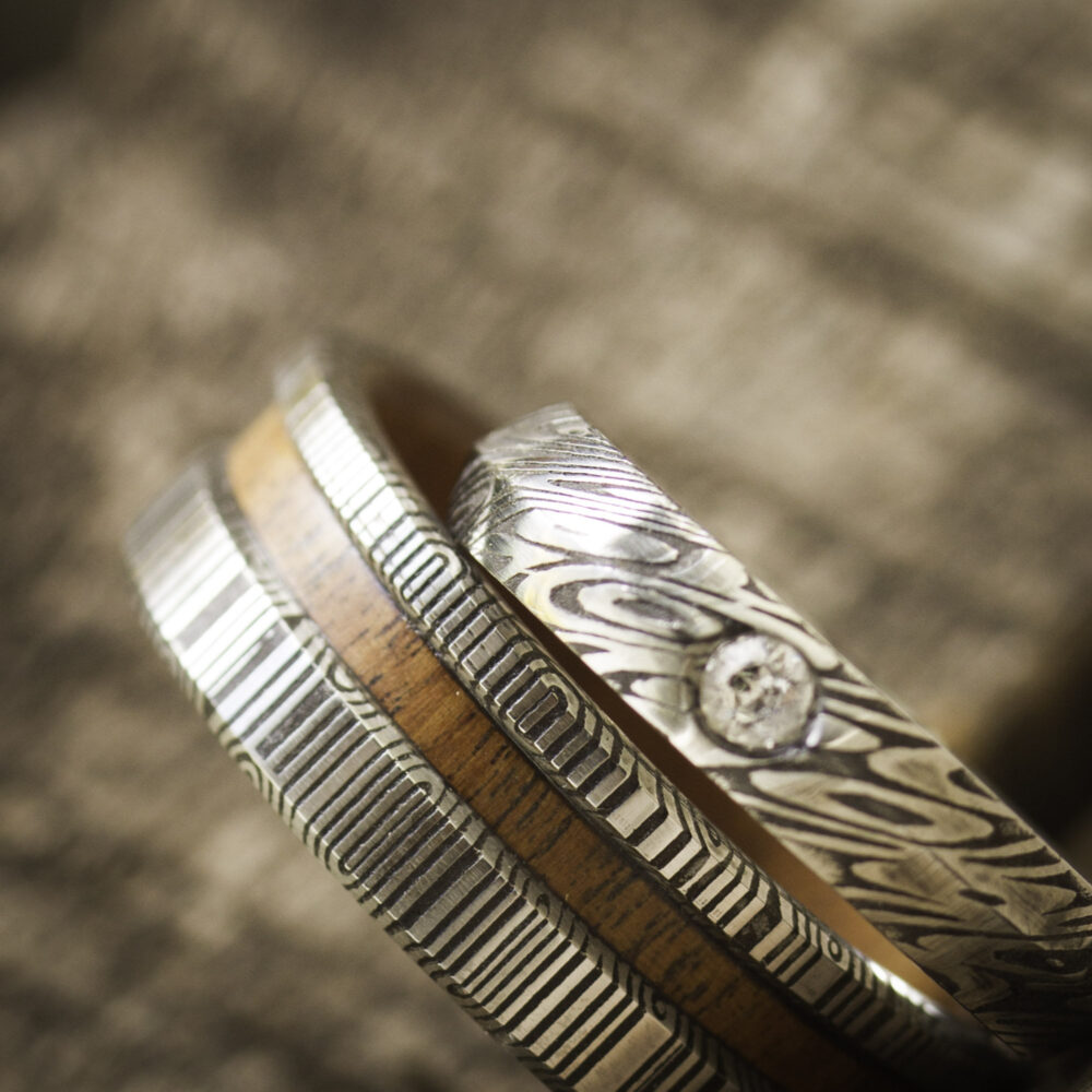Womens Damascus Stainless Steel Ring, Handmade Jewelry, Women Wedding Band, Unique Promise Gift For Her, Anniversary