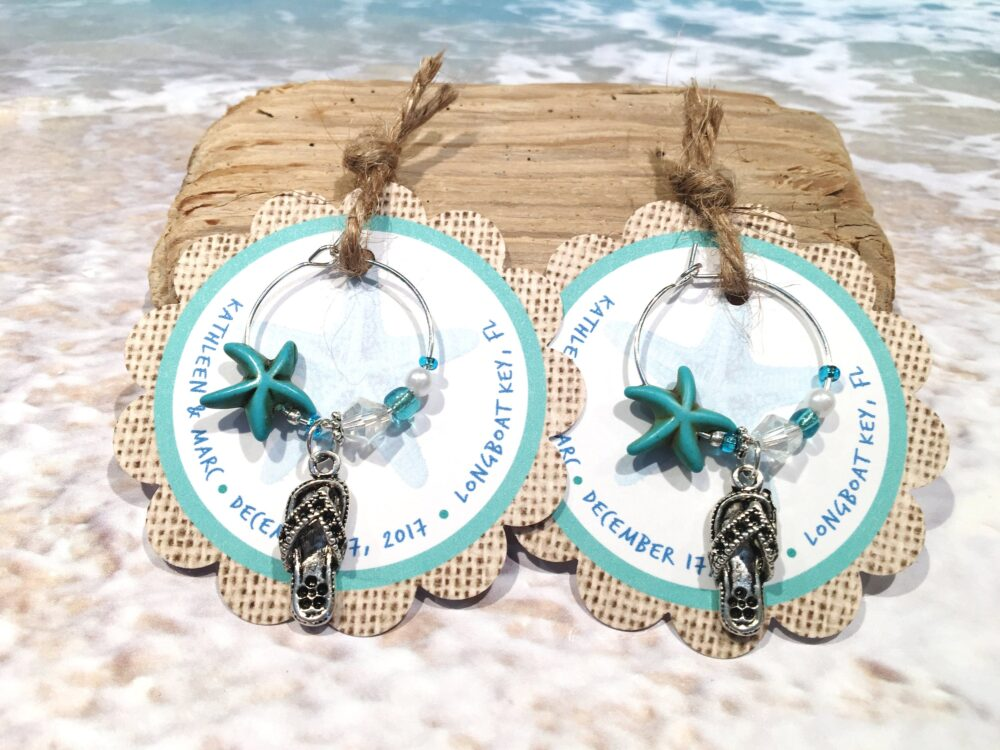 10 Beach Wedding Favors, Personalized Favor Tags, Flip Flop Wine Charm Custom Theme Gifts For Guests