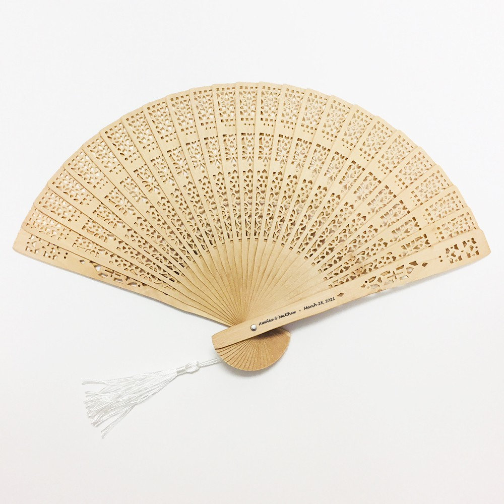 Set Of 12 Printed Personalized Intricately-Carved Sandalwood Fans With White Tassels ++ Wedding Favors