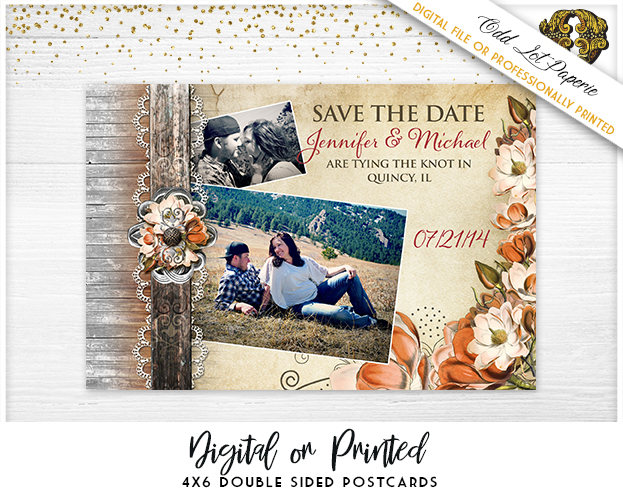Autumn Save The Date, Rustic Date Printable Digital File Or Printed 4x6 Postcard, Magnolia Flower Save Date, Rustic Floral, Barn