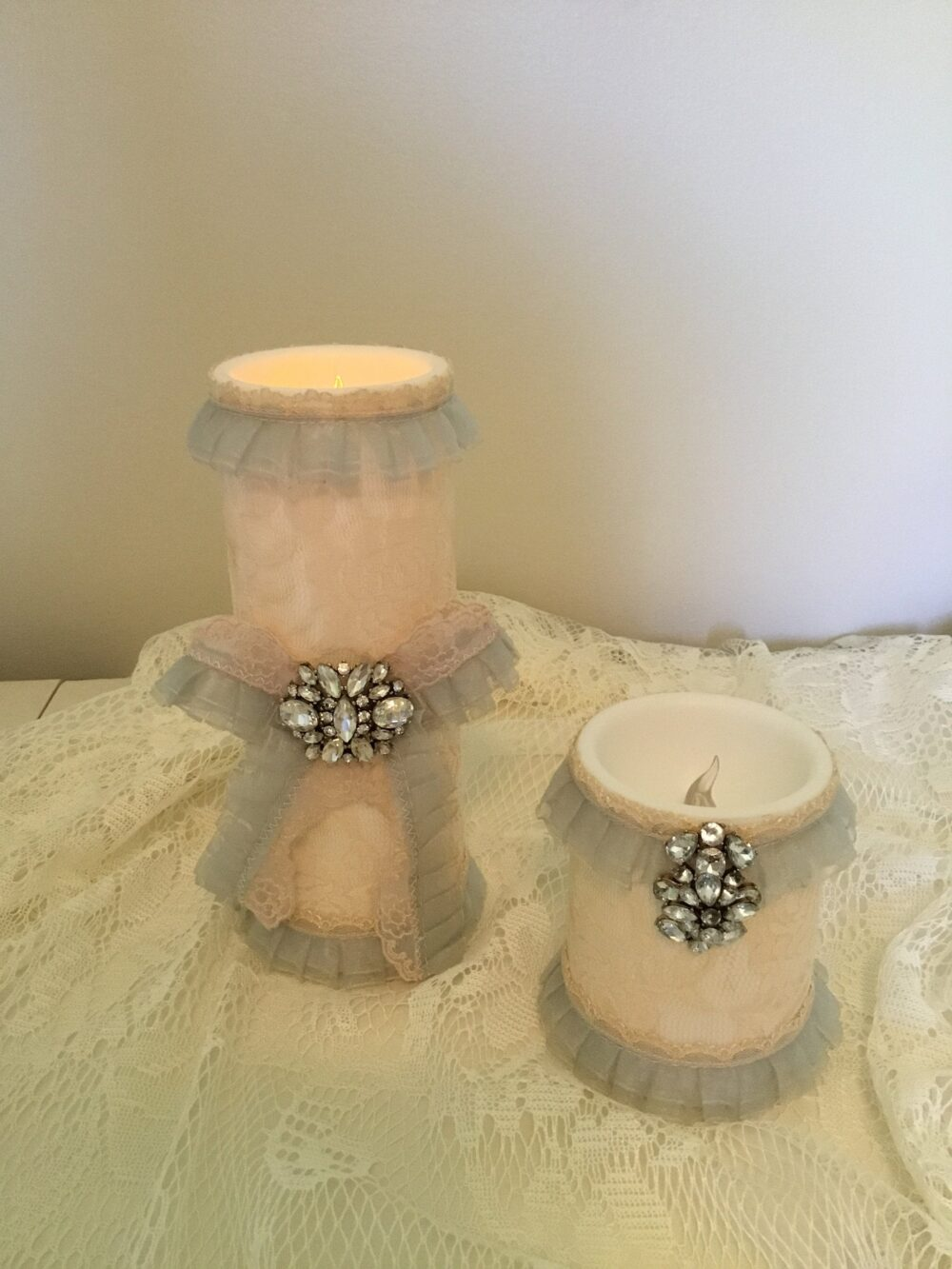 Shabby Chic Pillar Candles Set 2/Hand Dyed Lace/Vintage Pale Blue Ruffle Lace Trim/Led Flameless