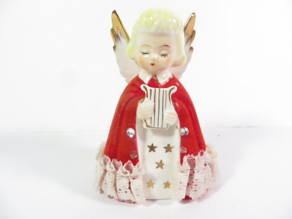 Vintage Red Flocked Angel Figurine - Lace Trimmed Christmas