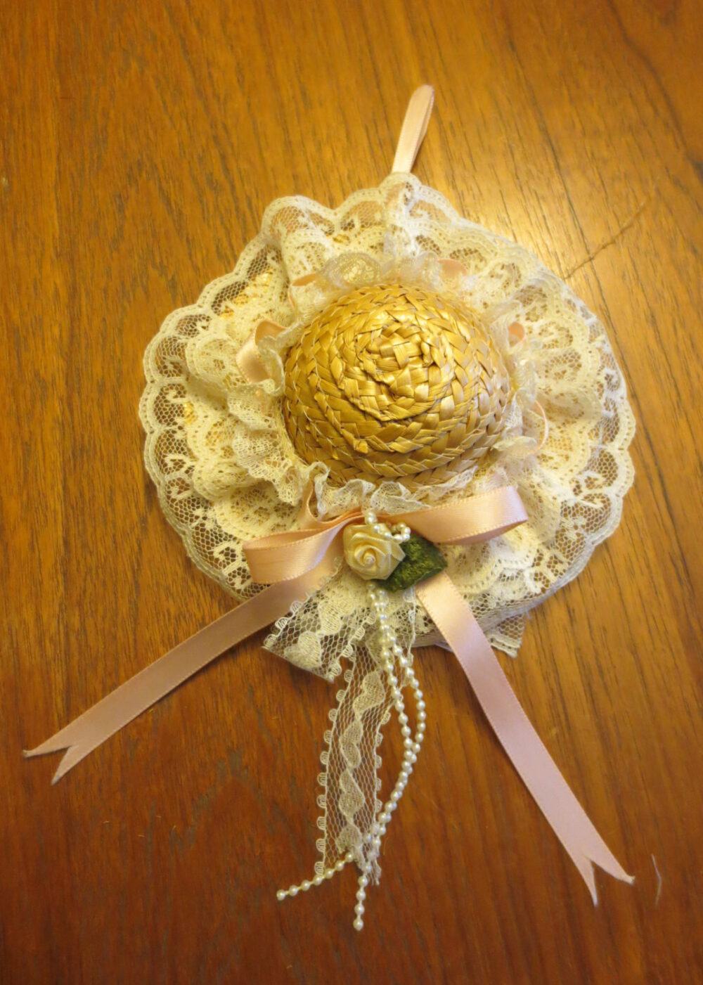 Vintage Lace Trimmed Doll Hat Filled With Potpourri