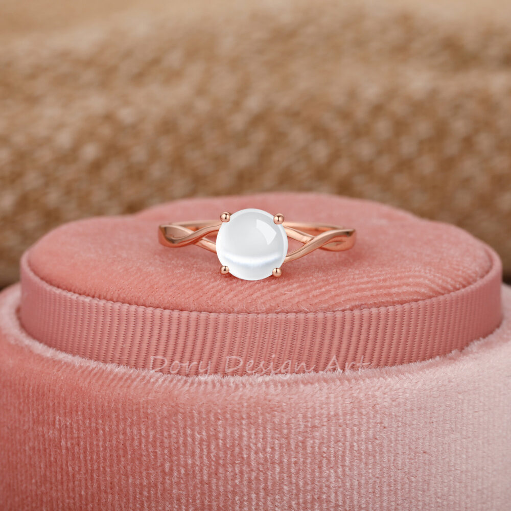 Cross Band Engagement Ring, 7mm Round Cut Cateye Moonstone 14K Solid Gold Solitaire Wedding Gemstone Minimalist Jewelry