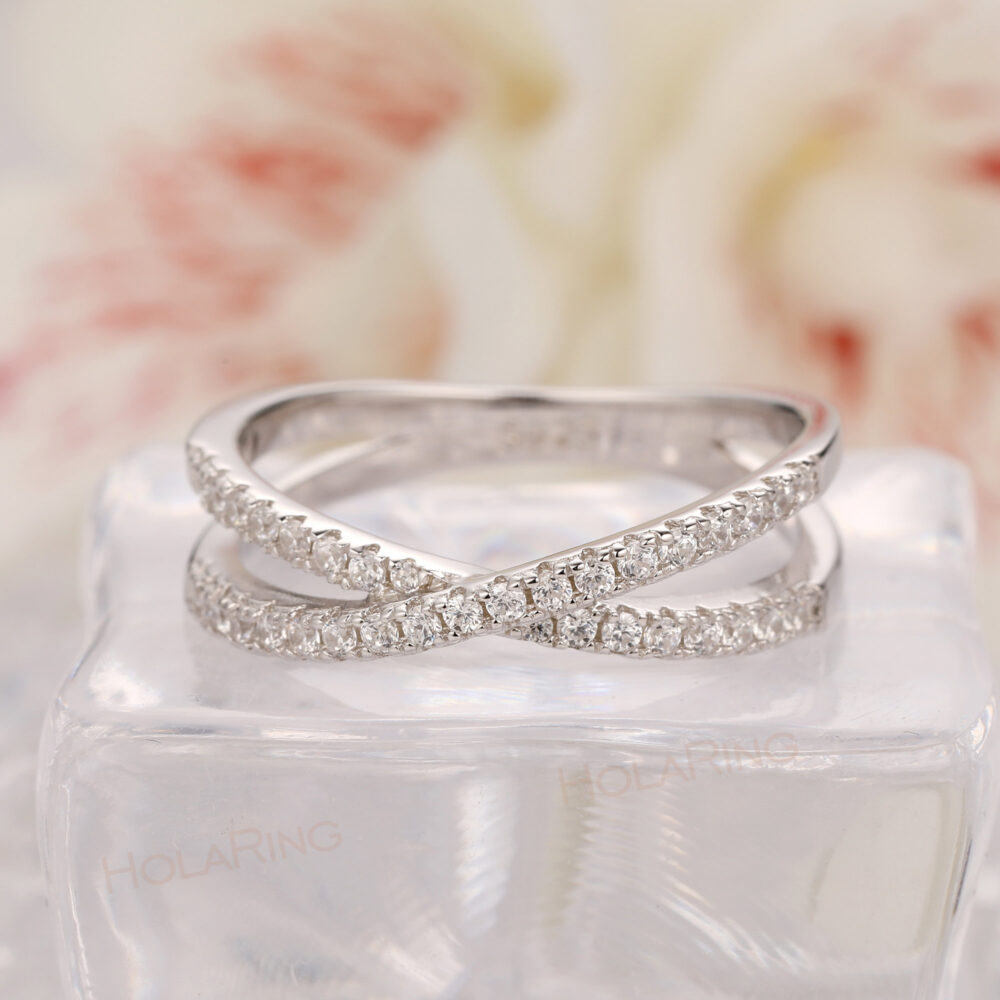 Cross Band Wedding Ring/ Special Design Gold Plated Matching Art Deco Simulated Diamond Women's Custom Promise Stack Ring