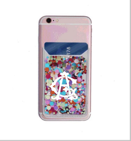 Monogrammed Phone Case Holder/ Card Holder With Name/ Sticky Girl Gift/ Teen Sparkle Case/Christmas Gi