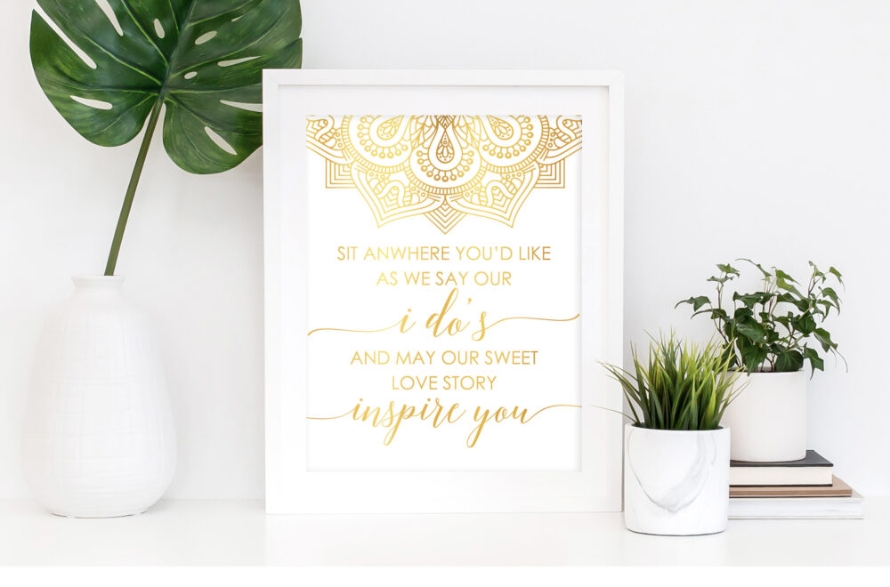 Boho Pick A Seat Not Side Sign, Gold Foil Print, Wedding Ceremony Decorations, Open Seating, Yourself Find Your
