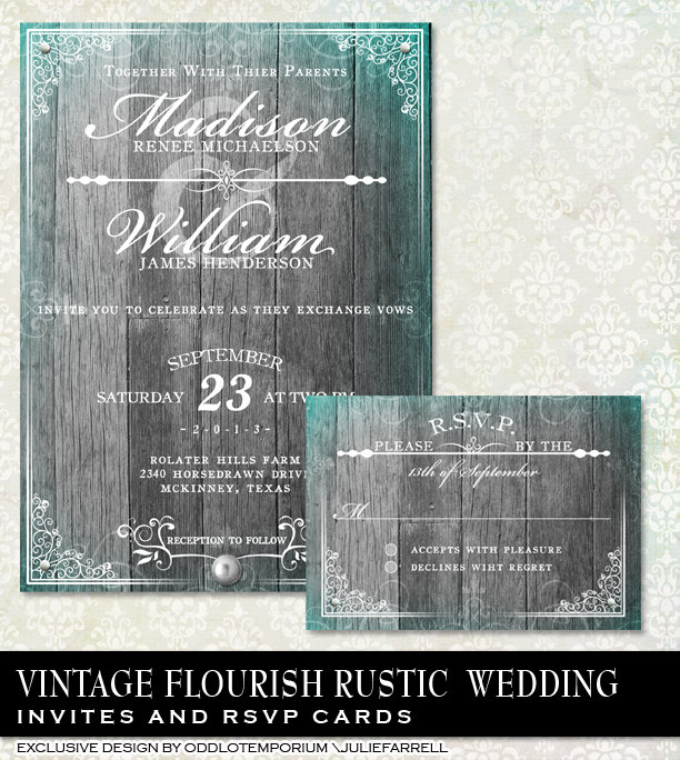 Elegant Rustic Wedding Invitation & Rsvp, Fancy Wood Invite, Antique Invitation, Diy Printable Grey , Invite