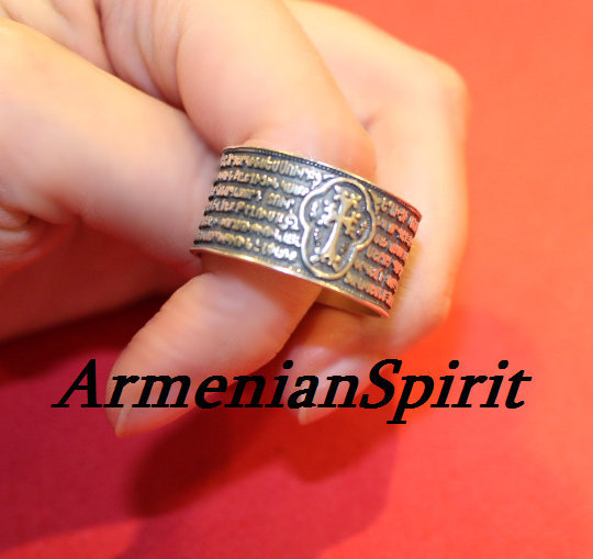 Armenian Prayer Ring Silver 925 Men Jewelry With Cross Gifts For Armenian Letters Crosses Sterling Rings Band